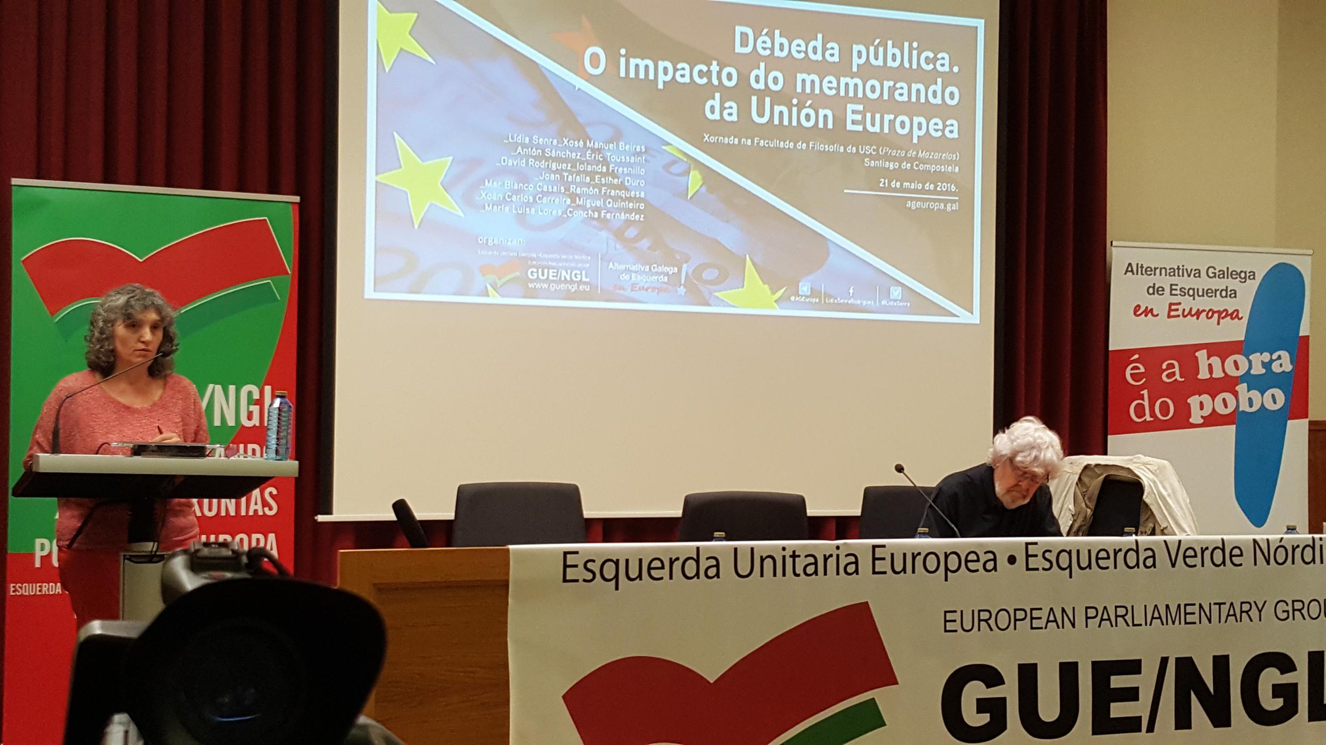 Lídia Senra e Xosé Manuel Beiras na Xornada sobre a Débeda 210516