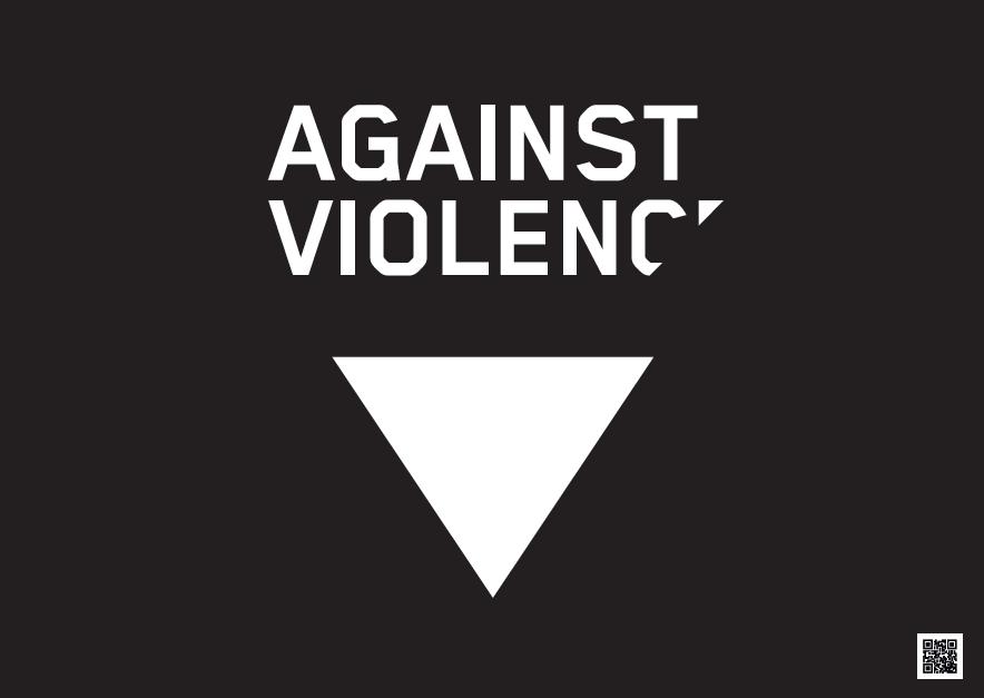 Cartel en ingles Contra a violencia machista foto