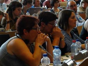 Labregas galegas que fixeron parte da delegación de 10 persoas do Sindicato Labrego Galego desprazada a Bruxelas para participar na xornada