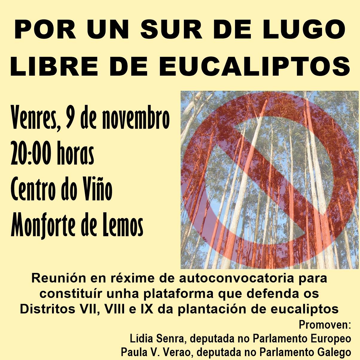 Cartel convocatoria Por un sur de Lugo libre de eucaliptos 091118