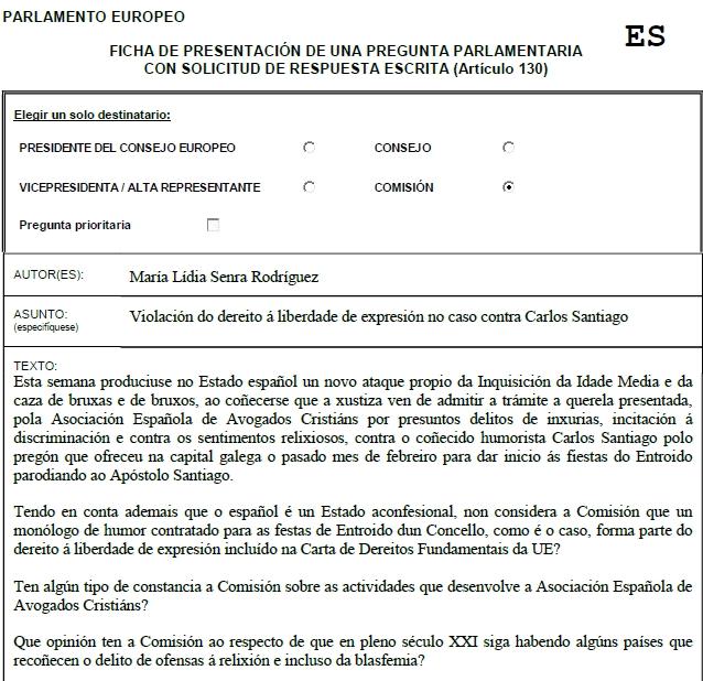 Pregunta escrita a CE sobre Carlos Santiago