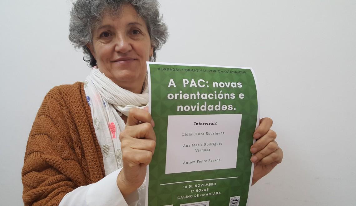 Lidia Senra, co cartel do evento sobre a PAC deste sabado en Chantada