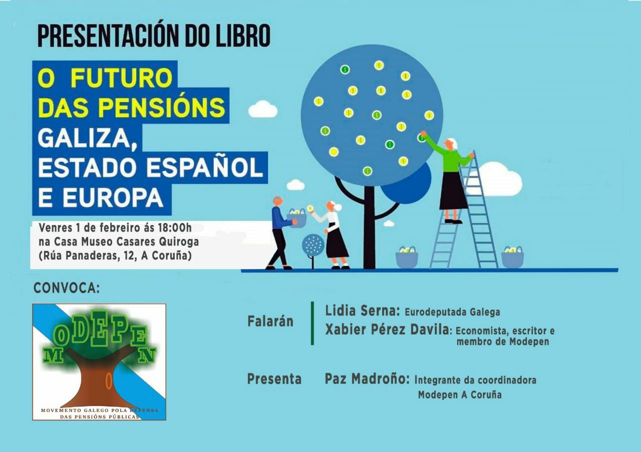 Cartel presentacion libro pensions na Coruña
