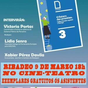 Cartel presentacion libro pensions Ribadeo 090319