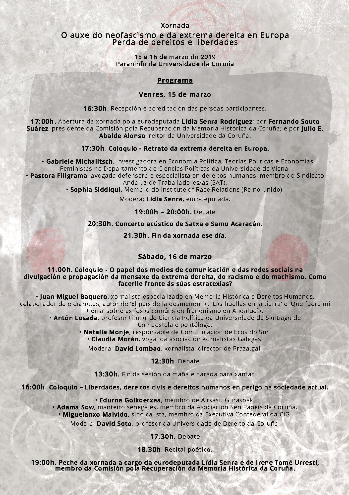 Programa Xornada O AUXE DO NEOFASCISMO 150319 Coruña