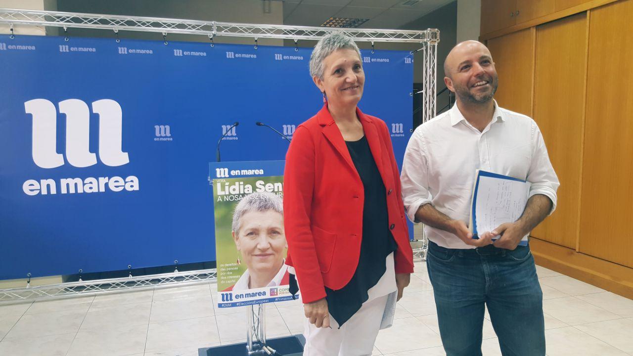 Lidia Senra e Luis Villares na rolda de prensa de hoxe II