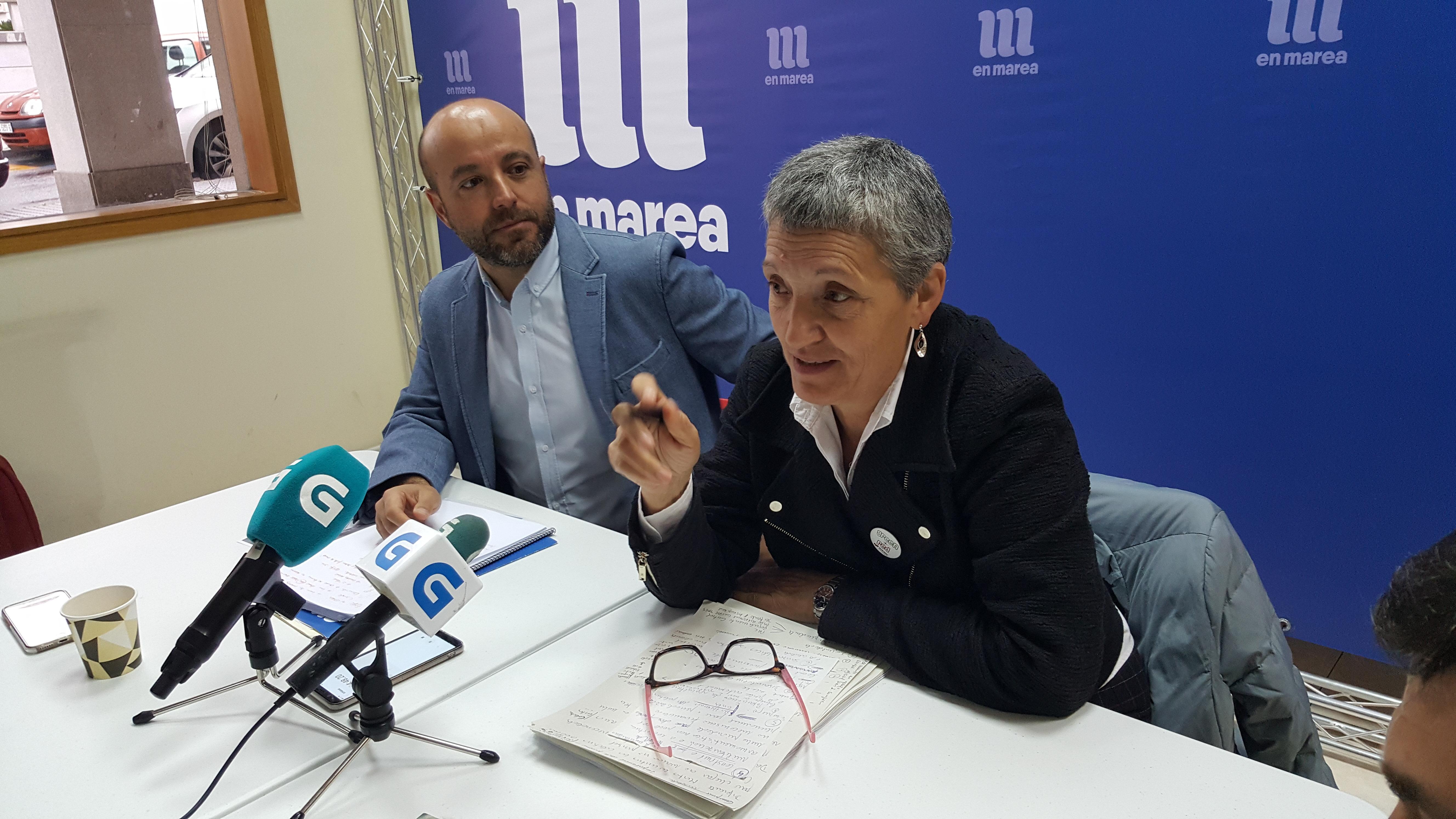 Lidia Senra e Luis Villares, na rolda de prensa de hoxe